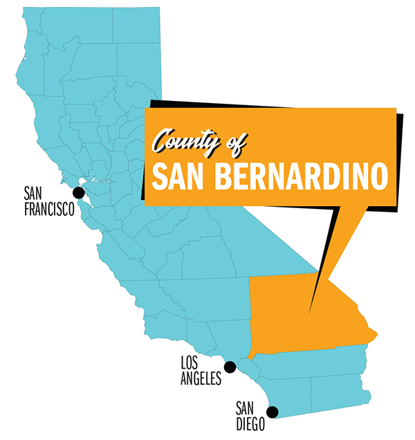 San Bernardino County video game truck party service area map